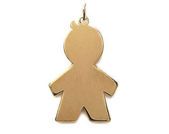 Pendant engraved boy boy plated gold