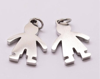 Pendant boy boy child kid 18 x 14 x 2 mm steel