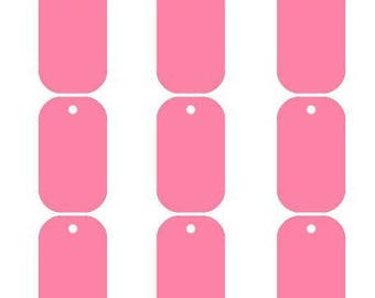 Rounded rectangle pendant light engraving stamping pink aluminum 30 x 35 mm military tag id