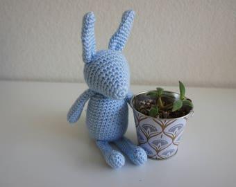 Amigurumi Crochet Stuffed Bunny, Baby Blue