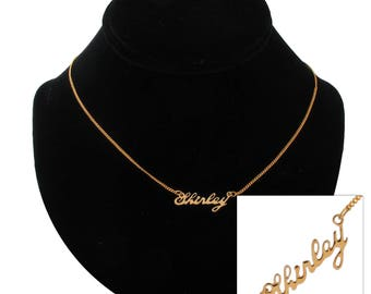 "Script Name Shirley Charm Pendant Gold Tone Necklace 16"" Vintage 70s"