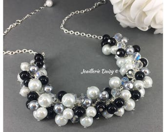 Bridesmaid Gift Pearl Necklace Grey Necklace Black Necklace Bridesmaid Jewelry Bridesmaid Necklace Jewelry Gift Idea Wedding Jewelry