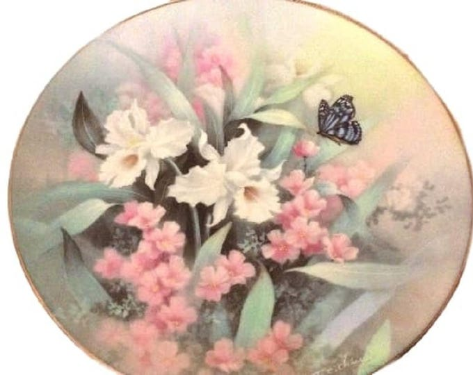 Floral Home Decor Porcelain Plate, Decorative Plate, Knowles, Vintage Wall Hanging Plate, Sapphire Wings, Jewels of the Flowers Collection