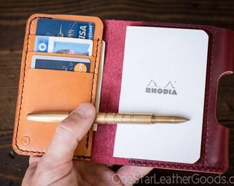 """Notebook/wallet/pen, """"Park Sloper Medium"""" - red Horween Chromexcel leather"""