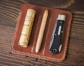 """EDC-3, every day carry pocket knife/pen/light case, for knives up to 3.75"""" closed - black or chestnut"""