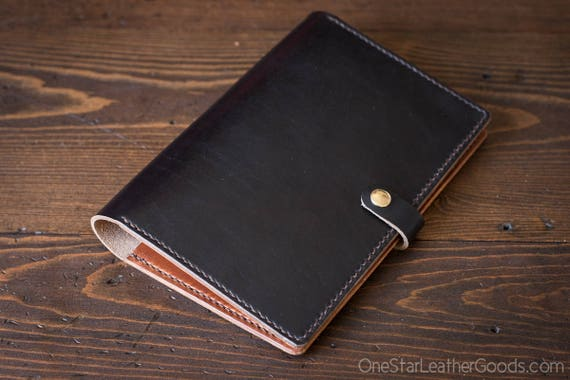 Hobonichi Cousin planner (fits other A5 notebooks) cover, + snap, Horween Chromexcel leather - black