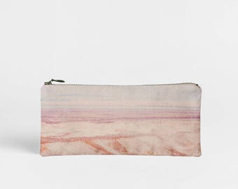 50% OFF Pink Makeup Bag, Landscape Pencil Case, Printed Zip Pouch, Pink Travel Case, Small Zipper Pouch, Pastel Cosmetics Bag, Small Gift