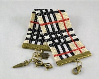 Christmasinjuly Scottish Tartan Bracelet woven Beading bracelet Loom bracelet Stitch loom Gift for her Seed beads Beige bracelets Beaded bra