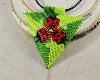 Christmasinjuly 3D Triangle pendant necklace  ladybugs Unusual necklace seed beads beading peyote stitch Beadwork Summer boho b