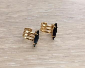 Ear Cuff, Gold Ear Cuff, Cartilage Earring, Rhinestone Ear Cuffs, Gold Earring