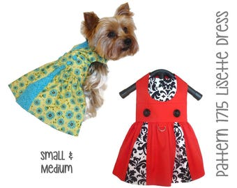 Lisette Dog Dress Pattern 1715 * Small & Medium * Dog Clothes Sewing Pattern * Small Dog Dress Pattern * Dog Harness Dress * Dog Apparel