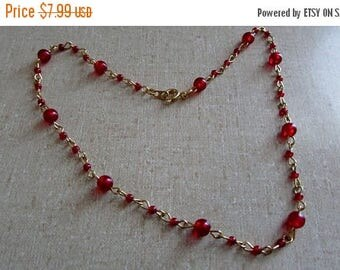 On Sale NOW Choker Necklace, Red Beaded with Gold links, 15 inch Necklace ~ BreezyTownship.etsy.com