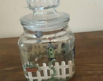 Vintage Clear Glass Cannister Garden Picket Fence Birdhouse Design Country Kitchen