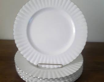 Vintage Royal Albert Chantilly Platinum Dinner Plates Set of 6 Elegant Shabby Chic