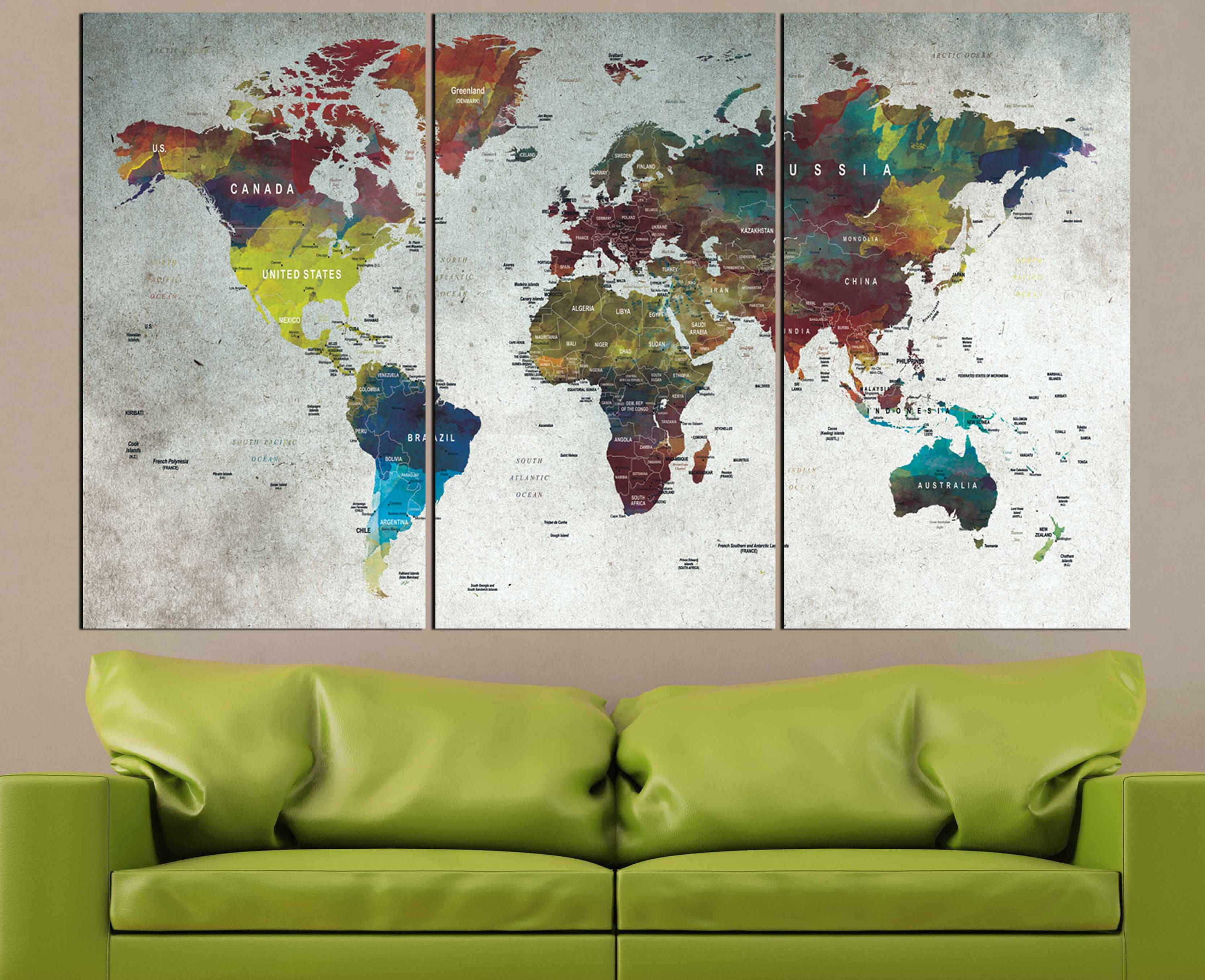 world mapmapwall artlarge world mappush pin mapabstract world mappush pin map canvas artworld travel mapmap canvas
