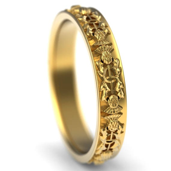 Gold Thistle Ring, 10K 14K or 18K Gold Scottish Ring 4mm Wide, Unique Rings for Her, Botanical Jewelry, Platinum or Palladium 5057