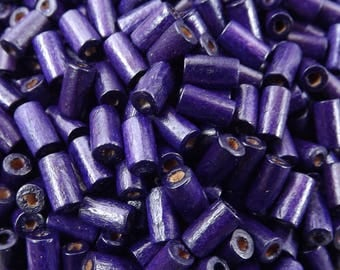 Eggplant Purple Wood Tube Beads Satin Varnished Plain Simple Round Smooth Ball Wooden Bead Spacers 8mm Choose 50pcs, 200pcs or 400pcs