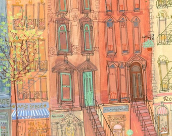 NYC ART PRINT, New York Illustration, Brownstone New York, Nyc Wall Art 8 x 10 inch Print, Citylife Painting, Watercolor Sketch New York