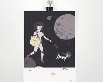 Space Dog Walk - A5 print