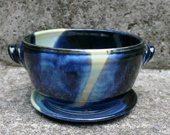 Berry Bowl (colander) with Plate to Catch Water in Black, Blue and Yellow/Green