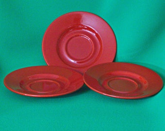 "Vintage Set Of 3 Bright Red 7"" Waechtersbach (Made In Spain) Art Pottery Saucers"