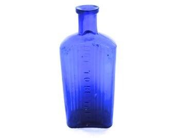 "Vintage 7"" Poison Bottle, Blue Apothecary Bottle, Old Pharmacy Bottle, Apothecary Medicine Bottle, Glass Chemist Bottle, Not To Be Taken"