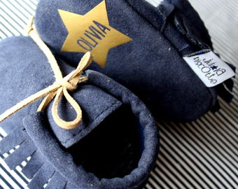 LITTLE MOC NAVY / Baby moccasins customizable
