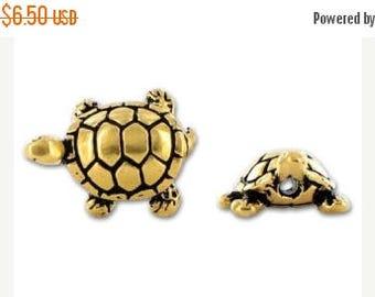 Weekly Sale 5pcs- Gold Turtle Beads 15mm , 22K gold Plated Turtle Beads, tierracast 94-5538-26  Sea animal bead - P5538GA