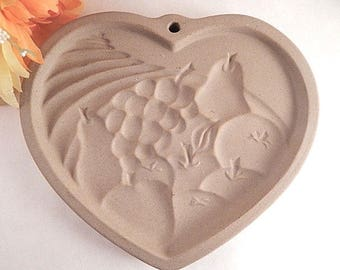 Shortbread Cookie Mold Heart of Plenty Pampered Chef Stoneware Cookie Art Paper Caste Crafts and Baking Supply Vintage 1995 Kitchen Decor
