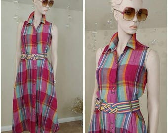 vintage 80s plaid summer dress by Tickets California size 3/4