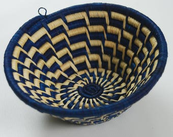AFRICAN BASKET / Handwoven Sisal / Small / Blue and White