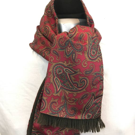 Vintage gents scarf Paisley wool back silky scarf burgundy long oblong tassel duggie Mod vintage gent cravat Goodwood scooter gentleman