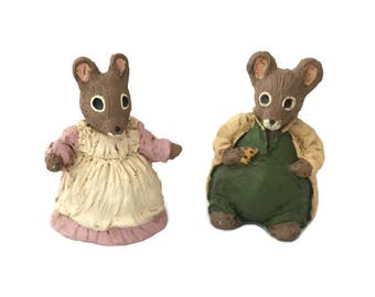 Mouse Couple Figurines, The Constance Collection, husband and wife, mice collectibles, resin mice statues (M38)