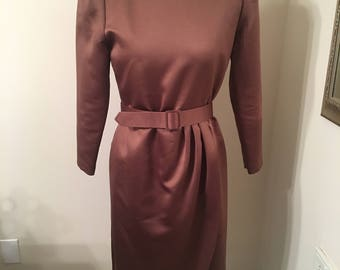 Vintage 1960s 1970s Henry Lee Petites Brown Belted Satin Dress Size 8 Shoulder Pads Hitchock Old Hollywood Pinup Girl Style Retro