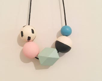Handpainted Wooden Bead necklace | blush and teal geometric | READY TO SHIP