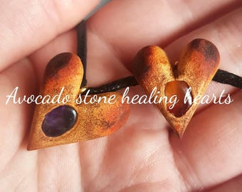 Carved healing heart necklace - avocado stone
