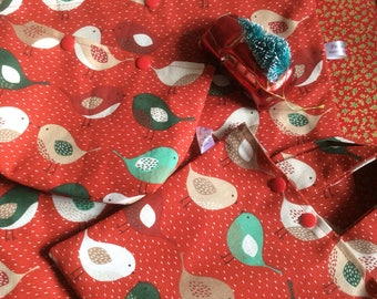 Red birds project bag - knitting  crochet sewing