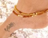 Brown and Gold Beaded Anklet Set, Boho, Beach, Summer, Minimalist, Fashion Womens, Custom Handmade Beaded Jewelry