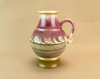 Purple Lava Glaze Jug West German Modernist 1970s Vintage Large Vase