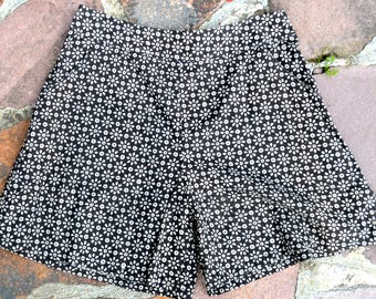 Flirty shorts, pockets, hand printed fabric, black with flower print,  size UK10