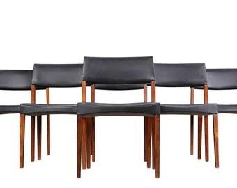 Six Rosewood Dining Chairs Danish Modern Mid Century