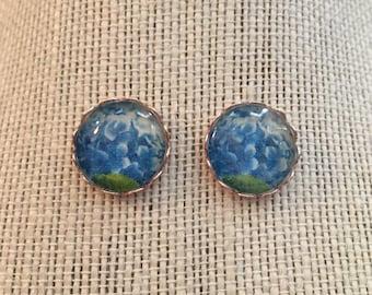 16mm Blue Hydrangea Flower Stud Earrings
