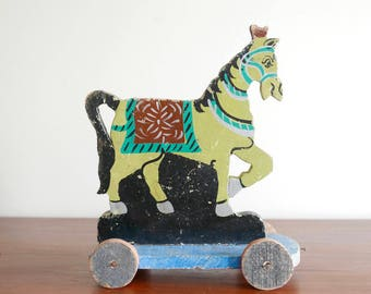 Antique toy : Wood horse, pull toy - 1950s / cottage, shabby chic, child kid room antique nostalgic country boho chic bohemian folk