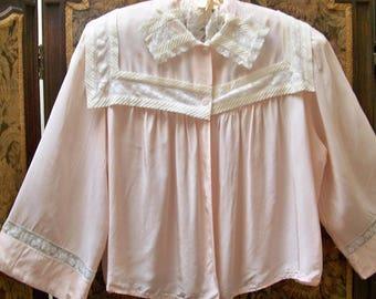 Vintage Rayon Bed Jacket - Dora Gottlieb - Size M - Red Dirt Girl - 361