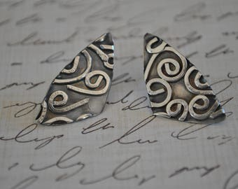 Sterling silver post earrings, textured metal earrings, artisan earrings