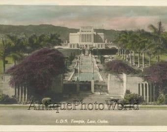 LDS Mormon Temple Oahu Hawaii antique hand tinted photo pc