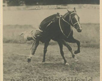 Russian circus performer on horse trick antique photo