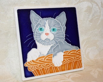 Ceramic Cat Tile made in Luciano, Italy by Creazioni Tile
