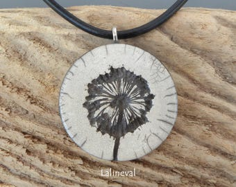 Crew neck, flowers #15 raku pendant Locket