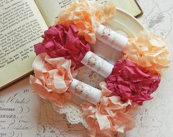 Seam Binding Ribbon / Crinkled Seam Binding / 15 Yards / Shabby Chic Ribbon / Gift Wrap / Lyric Rose, Summer Rose, Grecian / Gift Bag / Gift